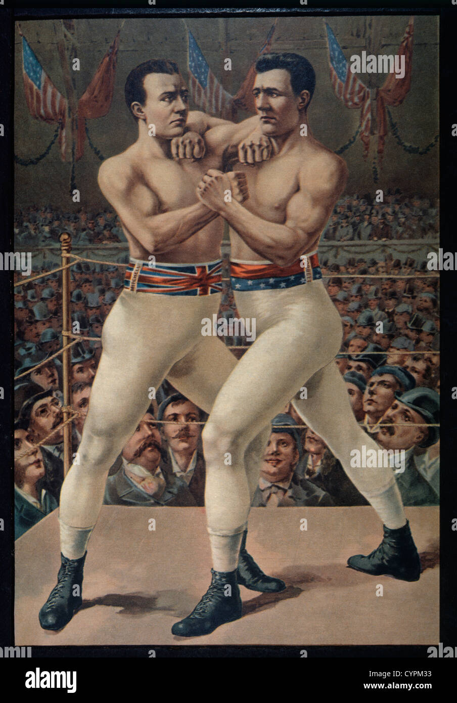 Charlie Mitchell vs. James Corbett Boxkampf, Jacksonville, Florida, USA, Lithographie, 1893 Stockbild