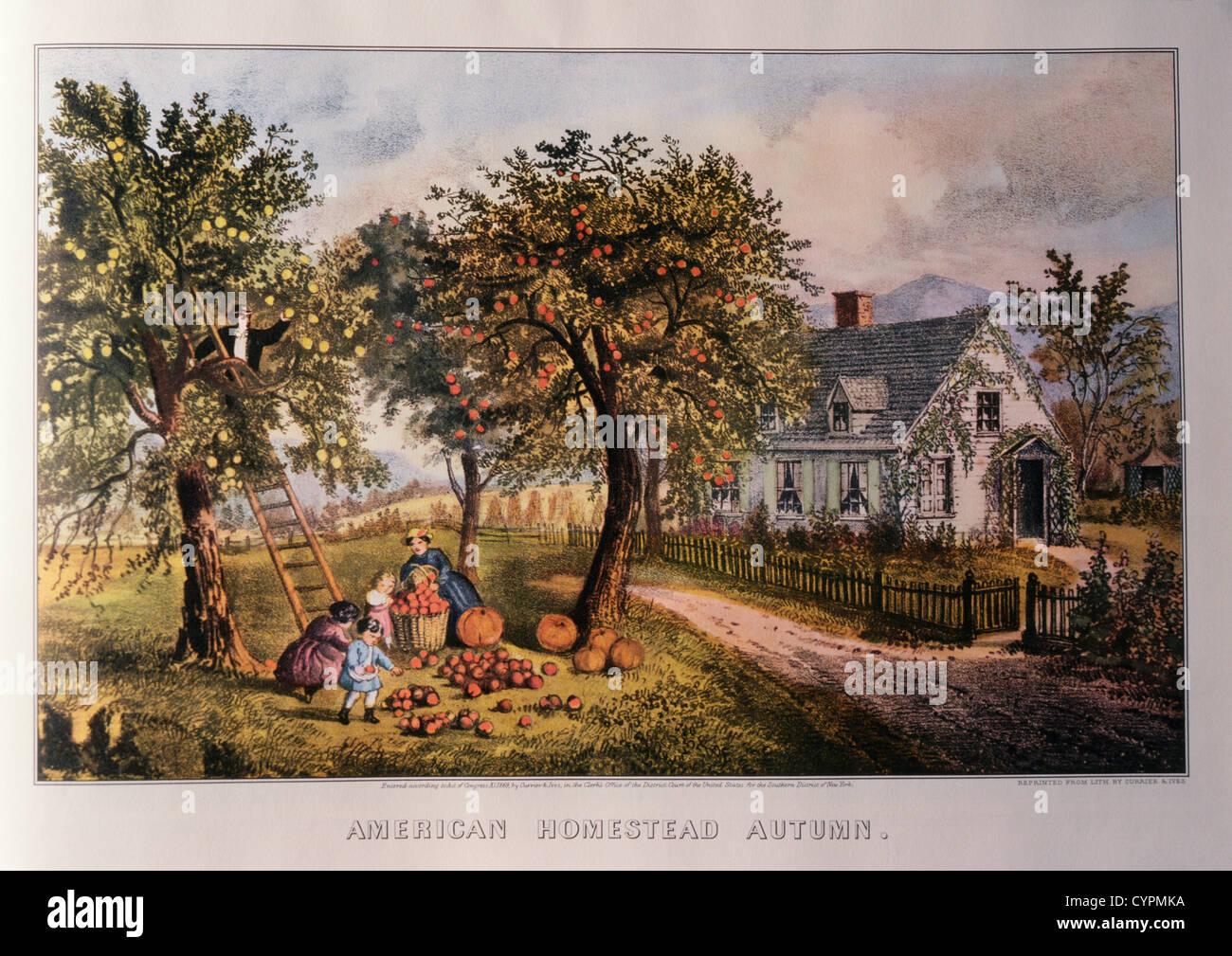 Amerikanische Homestead, Herbst, Currier & Ives, Lithographie, 1869 Stockbild