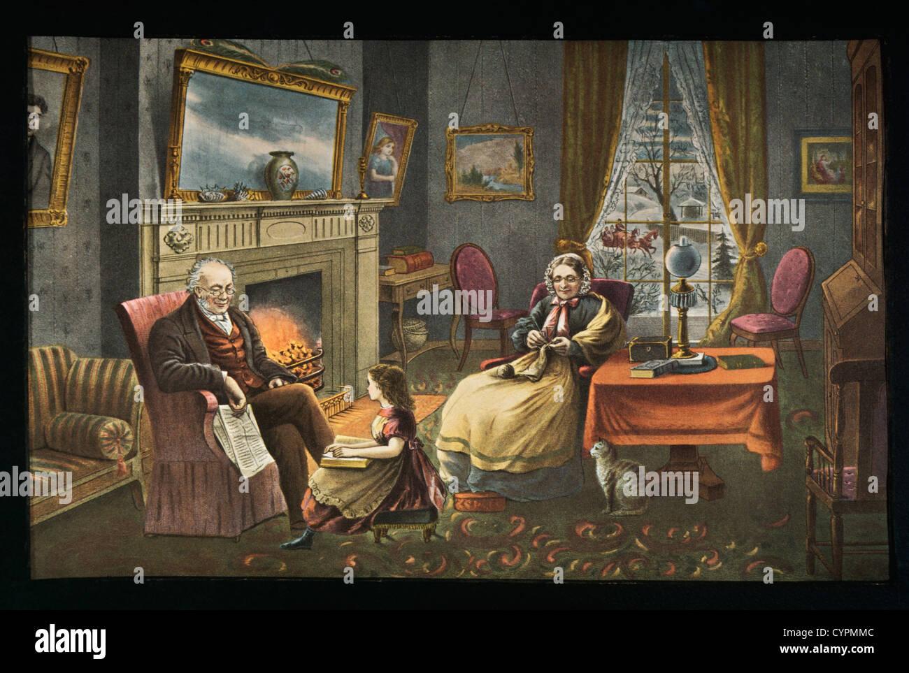 Vier Jahreszeiten des Lebens: Alter, Currier & Ives, Lithographie, 1868 Stockbild