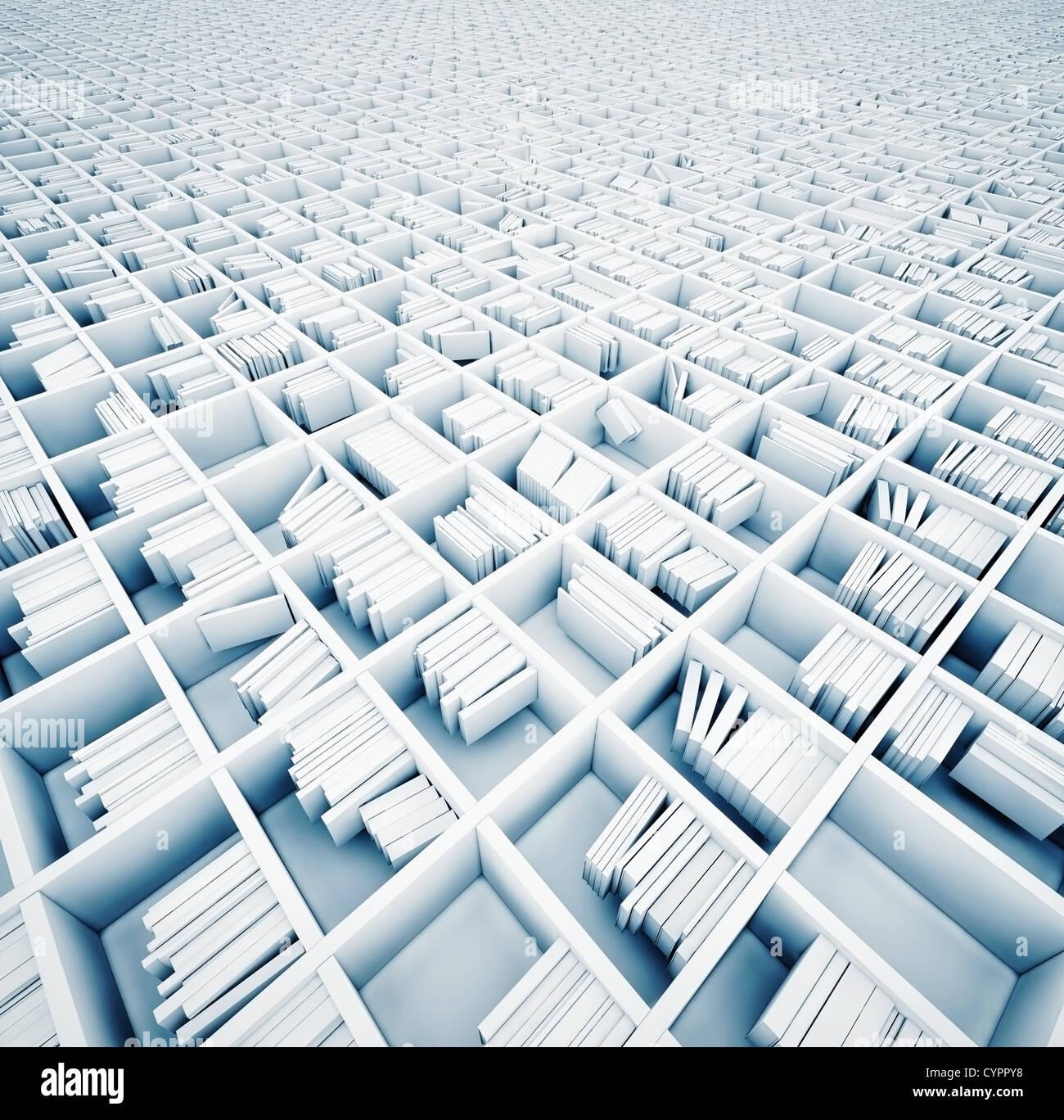 endlose weiße Regale (illustrierte Konzept) Stockbild