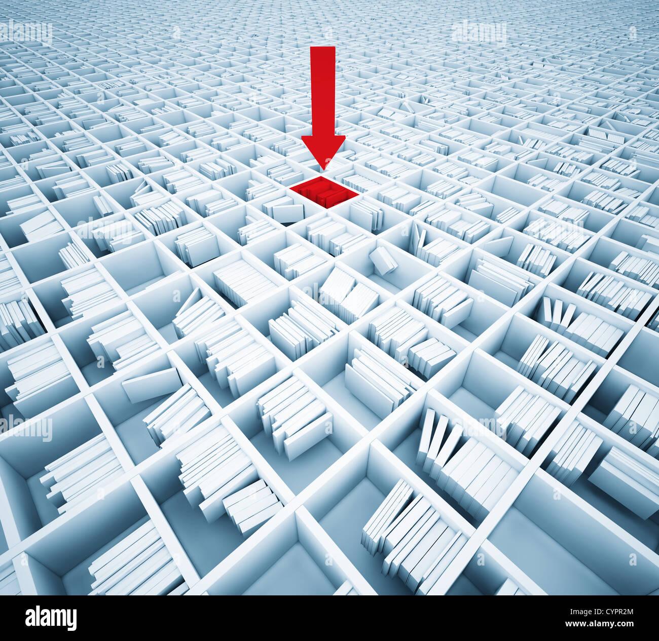 Suche nach Informationen in Matrix der Bücherregale (Abbildung-Konzept) Stockfoto