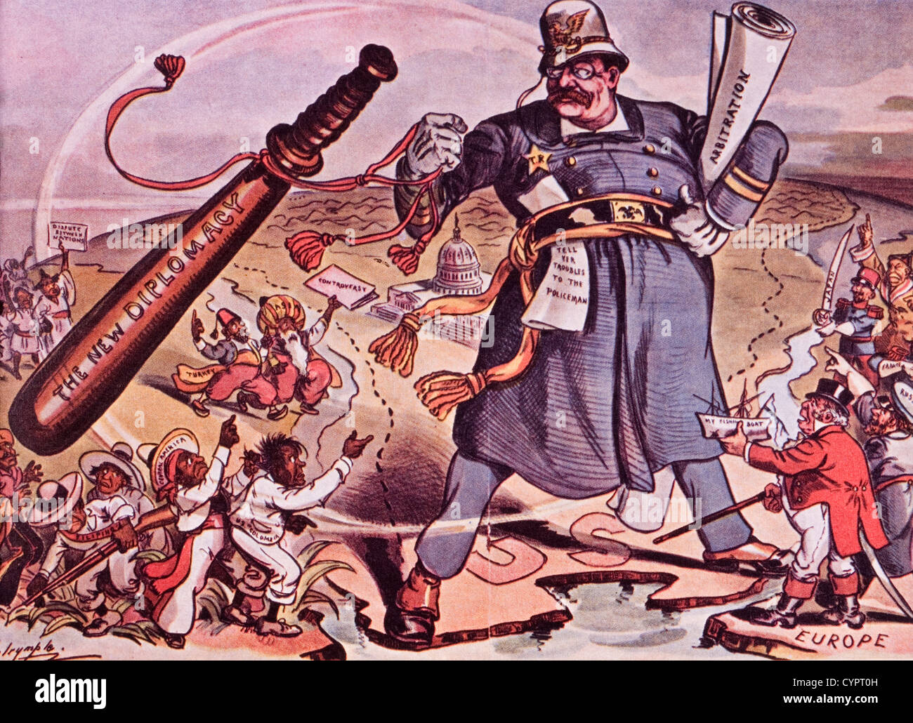 """US-Präsident Theodore Roosevelt neue Diplomatie, """"Sprich ..."""