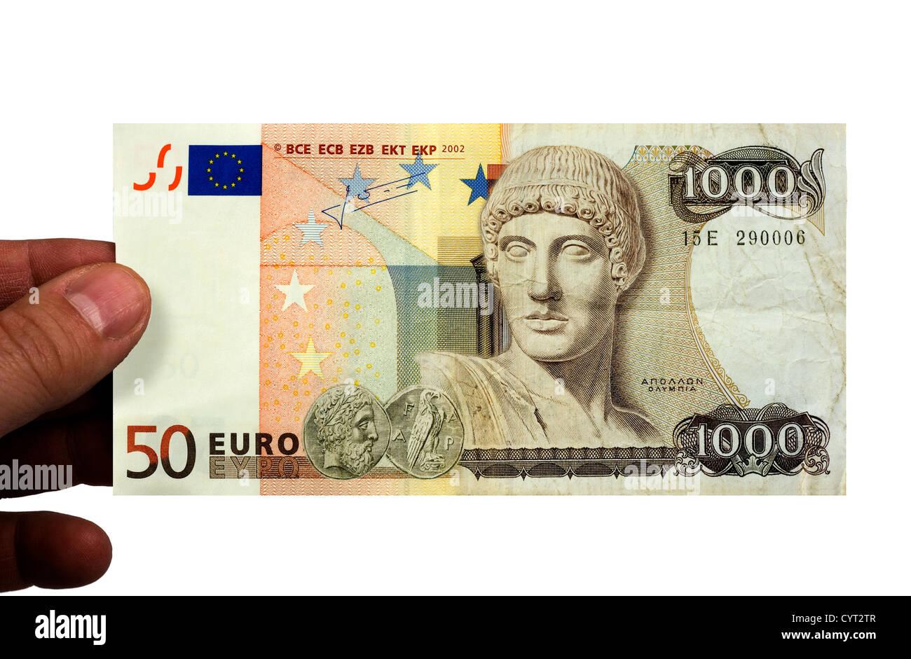 Ein 50 Euro-Schein und eine 1000 Drachmen Rechnung kombiniert. Stockfoto
