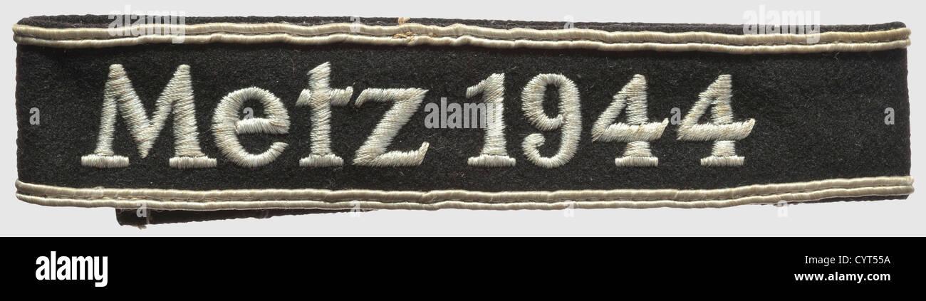 Manschette Band Metz 1944 verwendete Beispiel schwarz Baumwolltuch, Zopf und Stickerei von Ersatzmaterial. Länge Stockbild