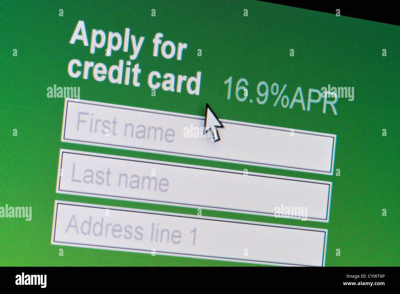 Nahaufnahme einer fiktiven Website einladen von Benutzern, eine Kreditkarte zu beantragen. Stockbild