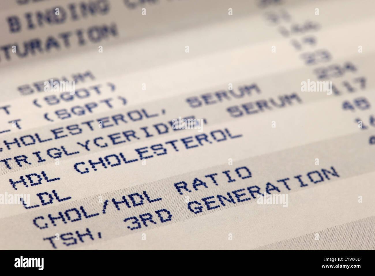 Detail des Blut-screening Ergebnisse Druck mit Fokus auf Cholesterin Stockbild