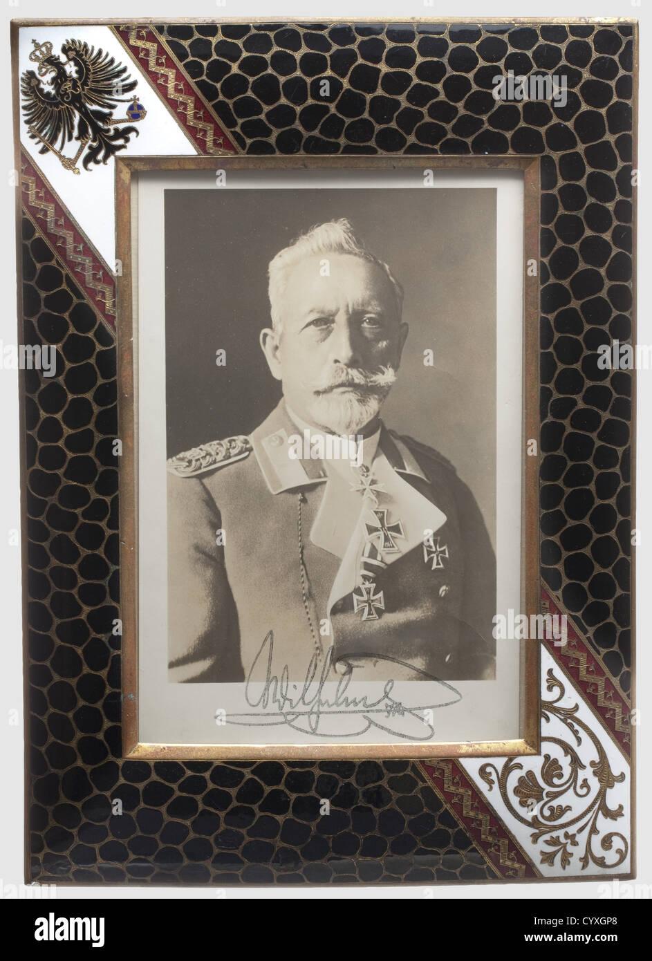 Kaiser Wilhelm II., eine offizielle Präsentation Rahmen ein Foto des ...