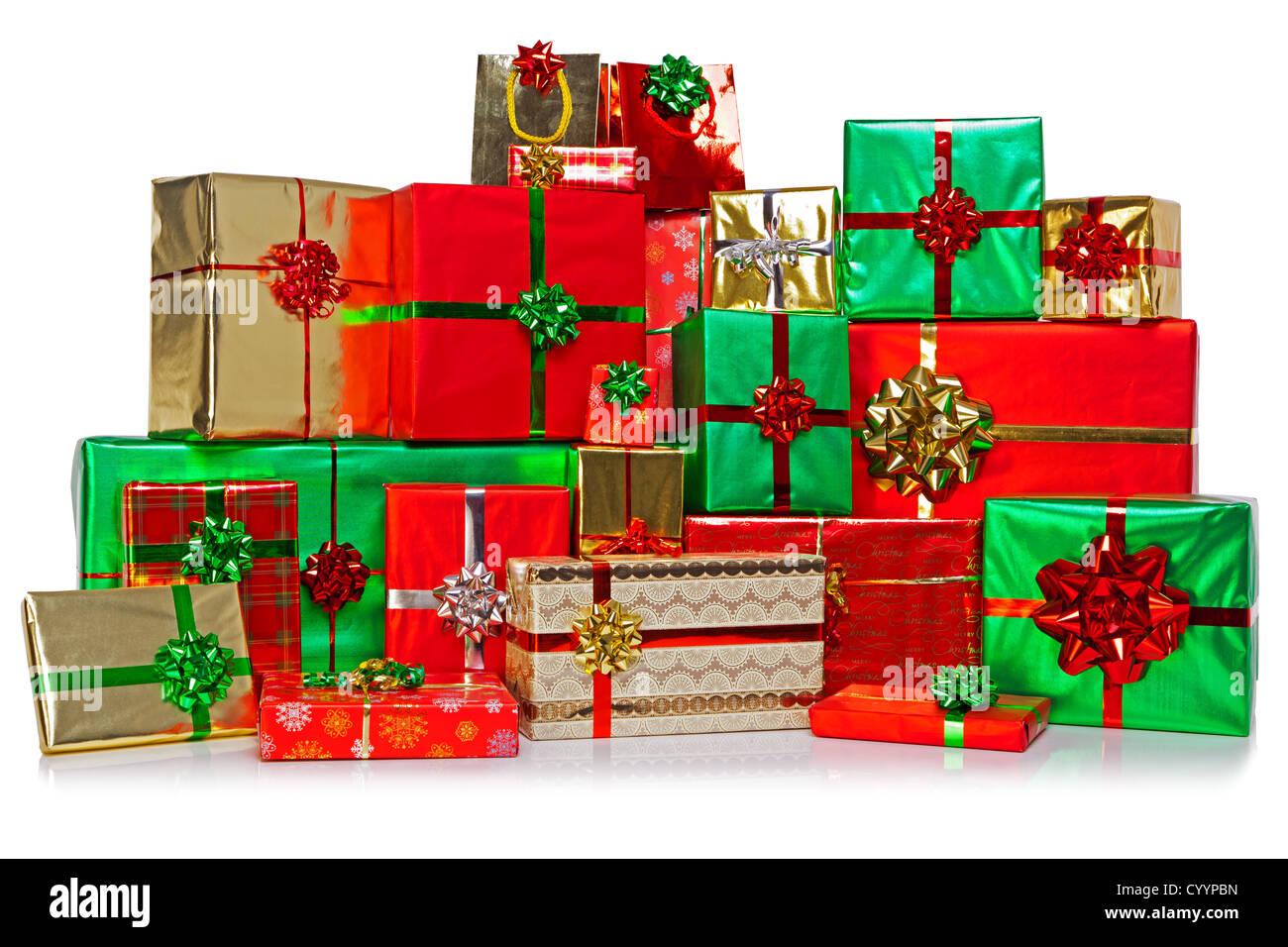 Eine große Gruppe von Geschenk verpackt Weihnachtsgeschenke in eine ...