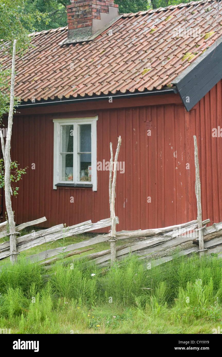 traditionelle rote falun schwedenhaus sommer haus häuser gartenhaus