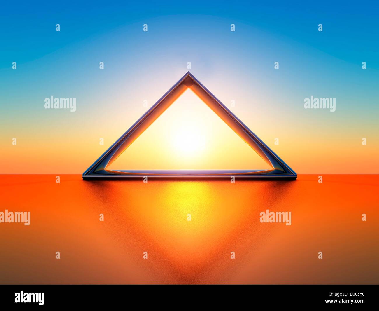 eine 3d Darstellung eines Dreiecks Stockbild