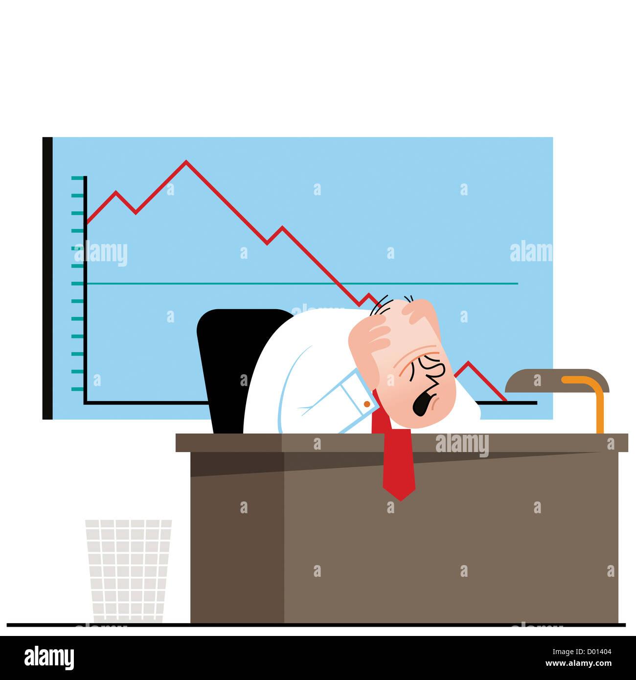 Eine verzweifelte Geschäftsmann an seinem Schreibtisch mit einer sinkenden Umsatz Grafik hinter ihm Stockbild
