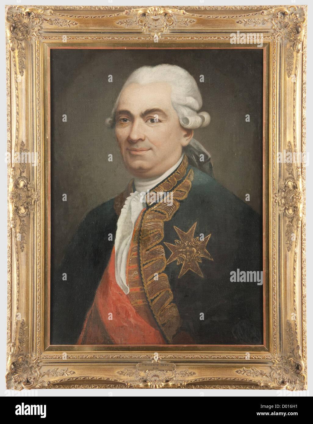 Ein Porträt von Louis XVI (1754 - 1793), eine Hälfte - Porträt des Königs in Uniform mit dem Stockbild