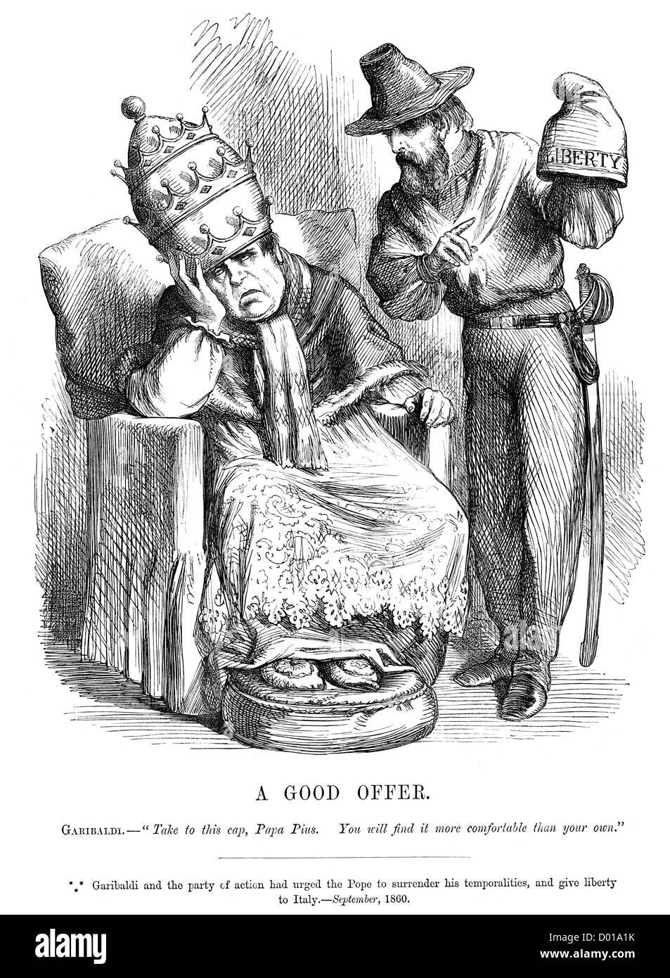 Ein Gutes Angebot Politische Karikatur über Garibaldi Drängen Des