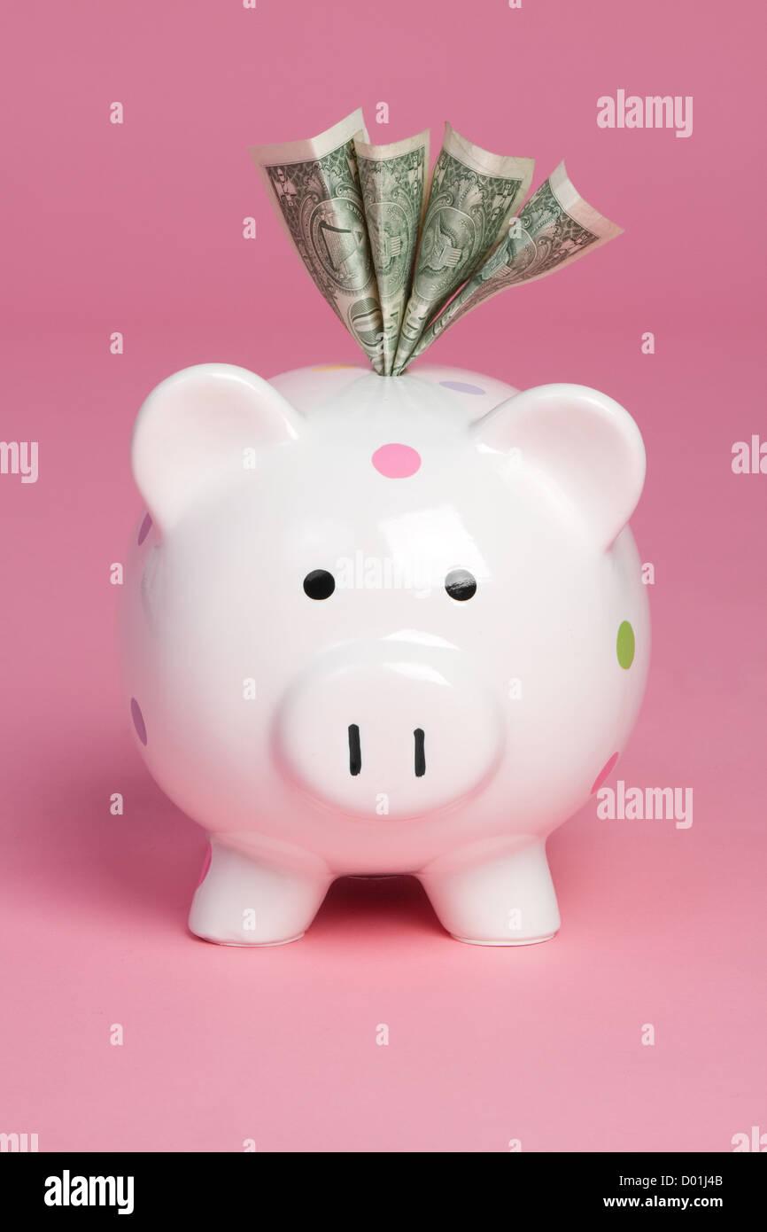 Sparschwein sparen bares Geld Stockbild