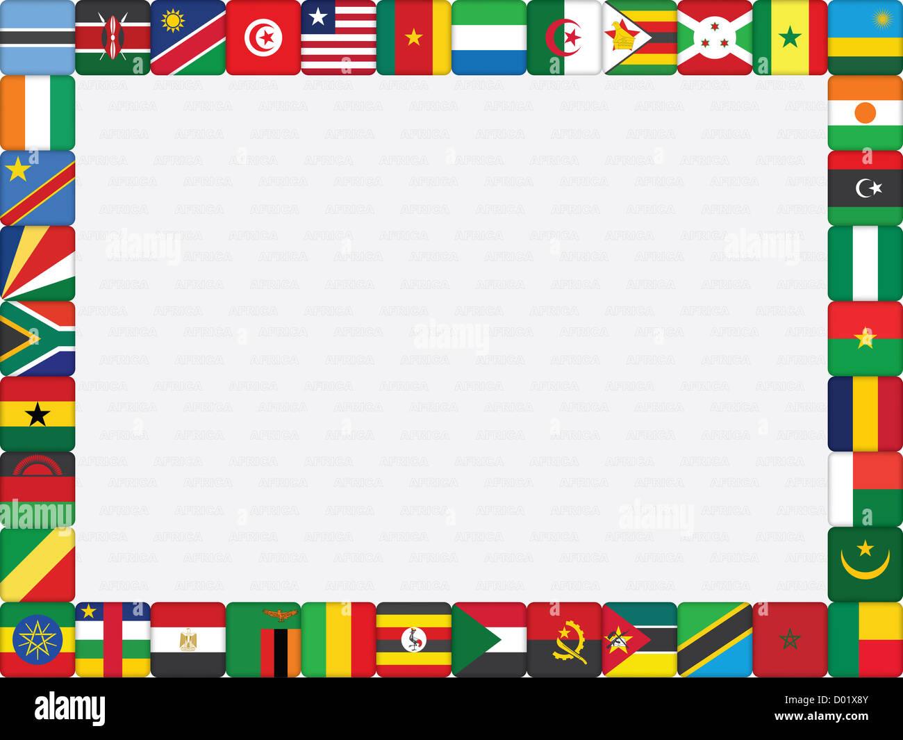 Hintergrund mit afrikanischen Ländern Flag Icons Rahmen Stockfoto ...