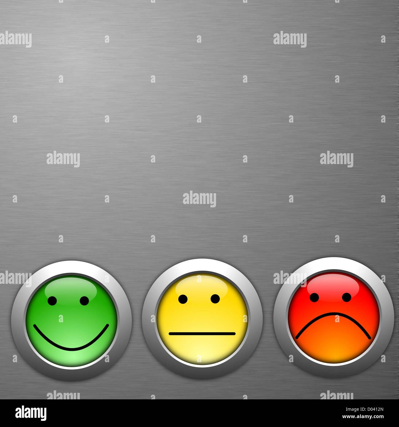 Kundenzufriedenheit Befragung Konzept mit Smilie und Knopf Stockbild
