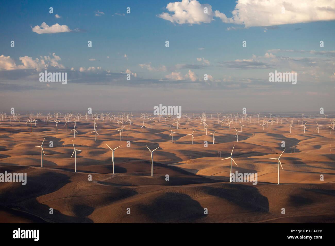 Luftaufnahme von Windkraftanlagen in Montezuma Hills des Sacramento River Delta, Nord-Kalifornien. Stockbild