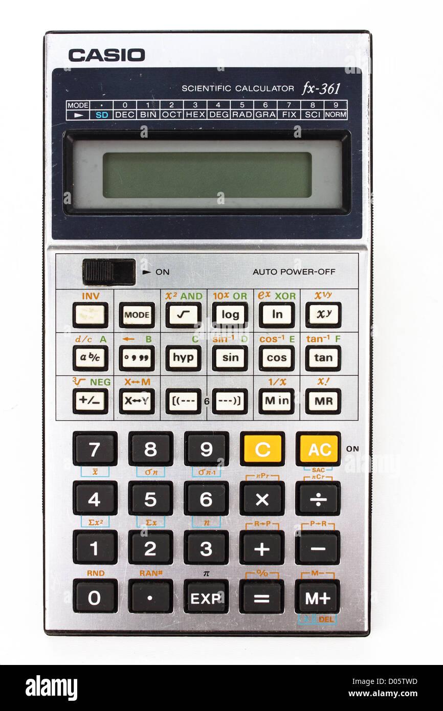 Retro 80er Jahre Casio wissenschaftlicher Taschenrechner Stockbild
