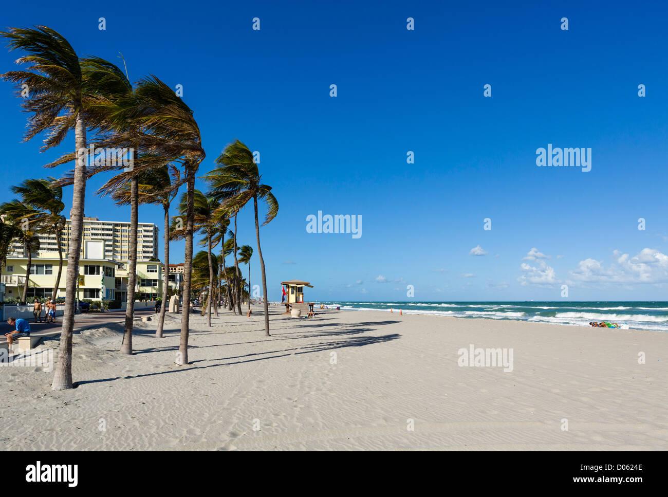 Strand in Hollywood, in der Nähe von Fort Lauderdale, Broward County, Gold Coast, Florida, USA Stockbild
