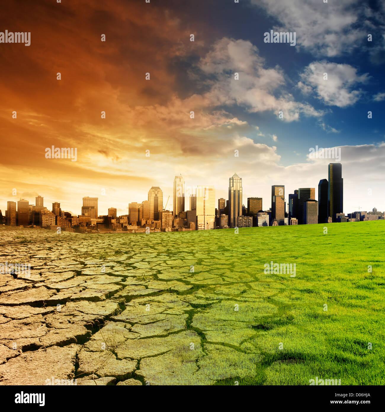 Auswirkungen der globalen Erwärmung auf eine Stadt Stockbild