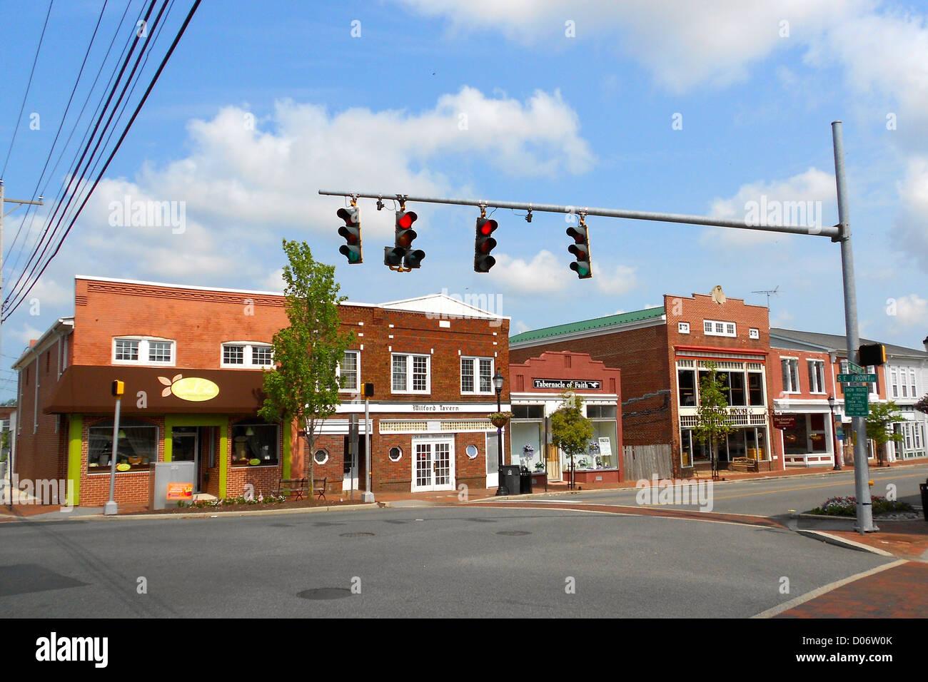 Gebäude im Zentrum von Milford, Sussex County, Delaware Stockbild