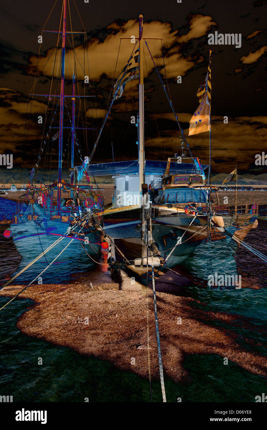 Boote in Corfu digitale Kunst-Montage Stockbild