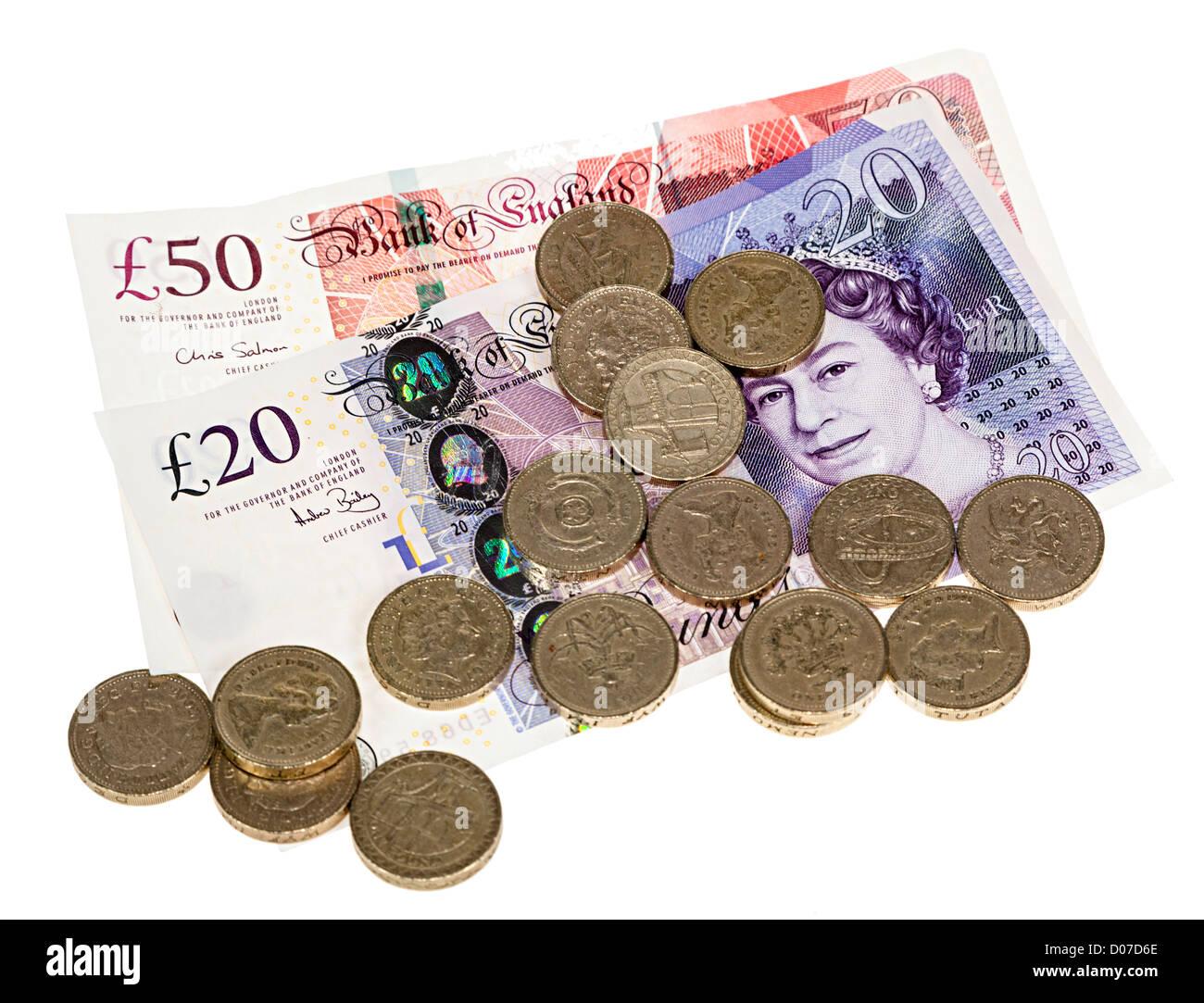 Britische Pfund Sterling Geld Mit 50 Und 20 Banknoten Und Pfund