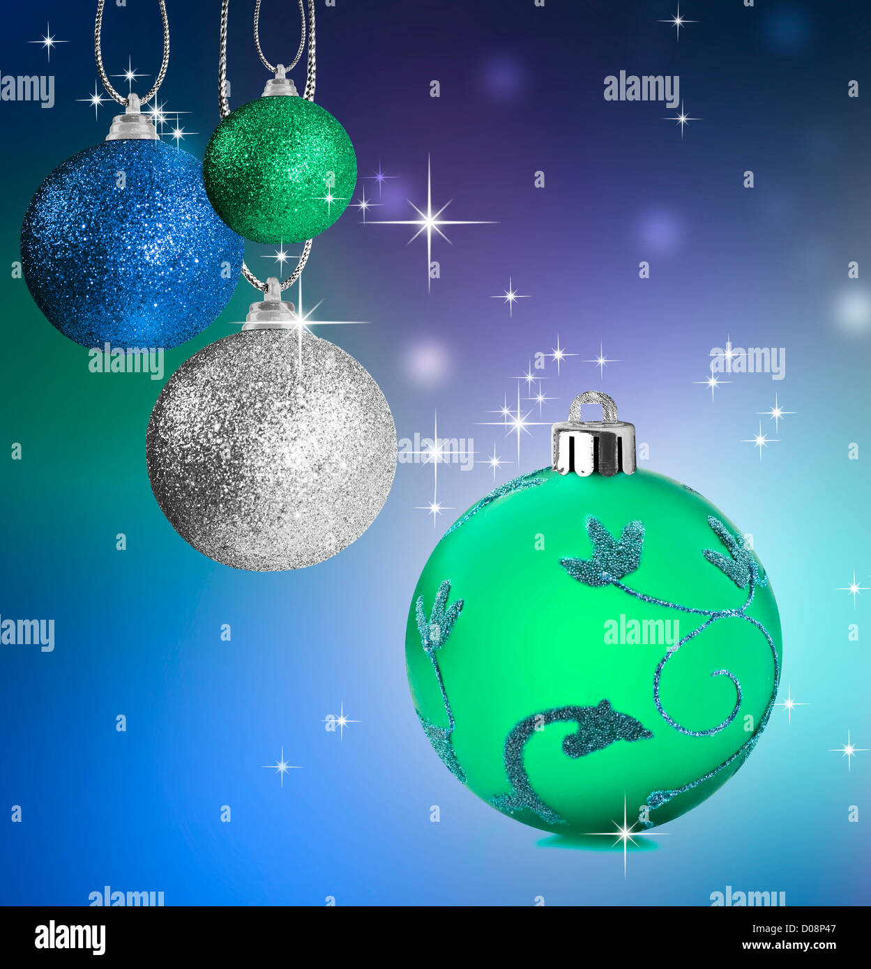 Colorful blue christmas baubles balls stockfotos colorful blue christmas baubles balls bilder - Blaue christbaumkugeln ...