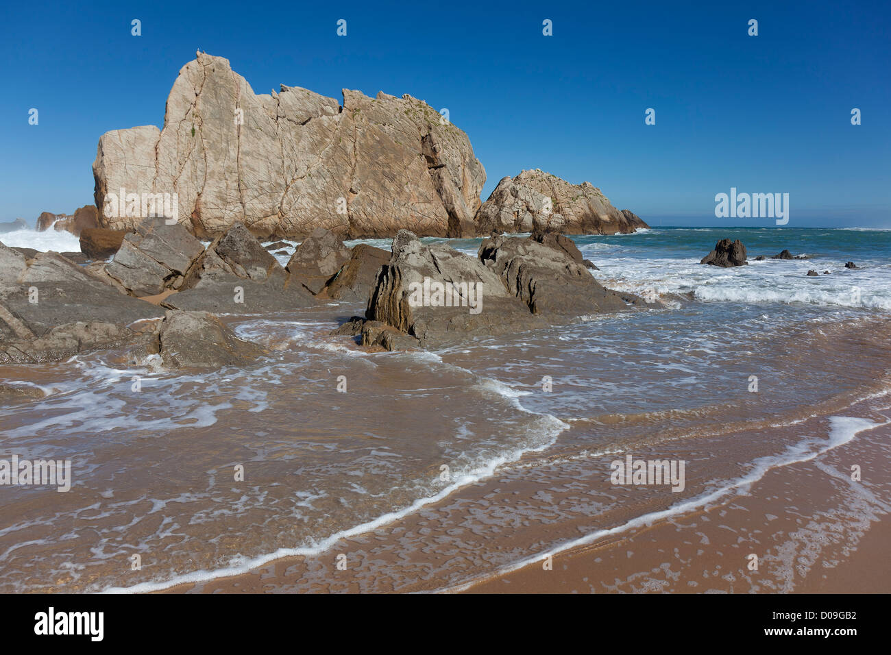 Strand der Arnia, Liencres, Kantabrien, Spanien Stockbild