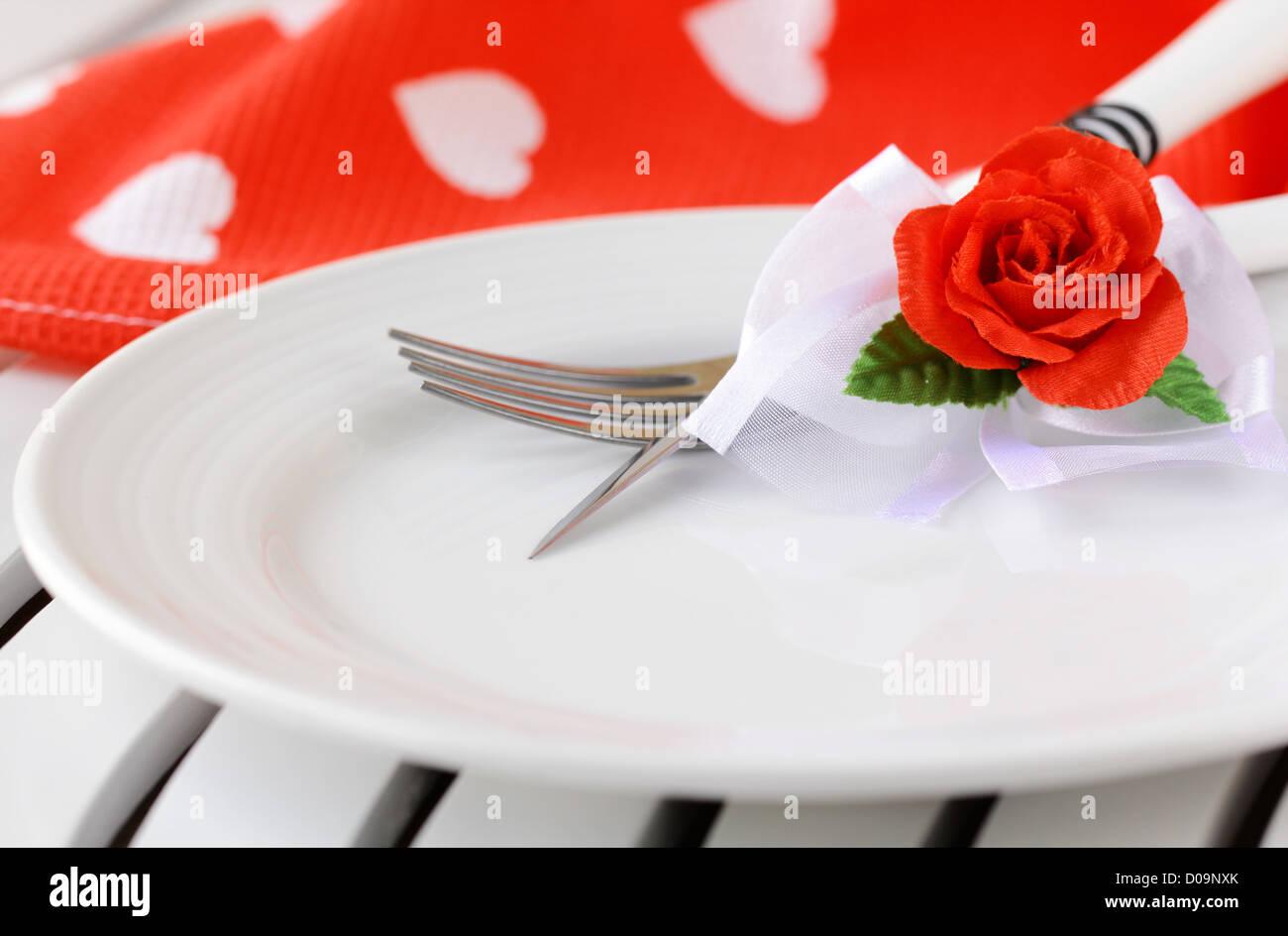 Romantische Und Elegante Tischdekoration Valentinstag Stockfoto