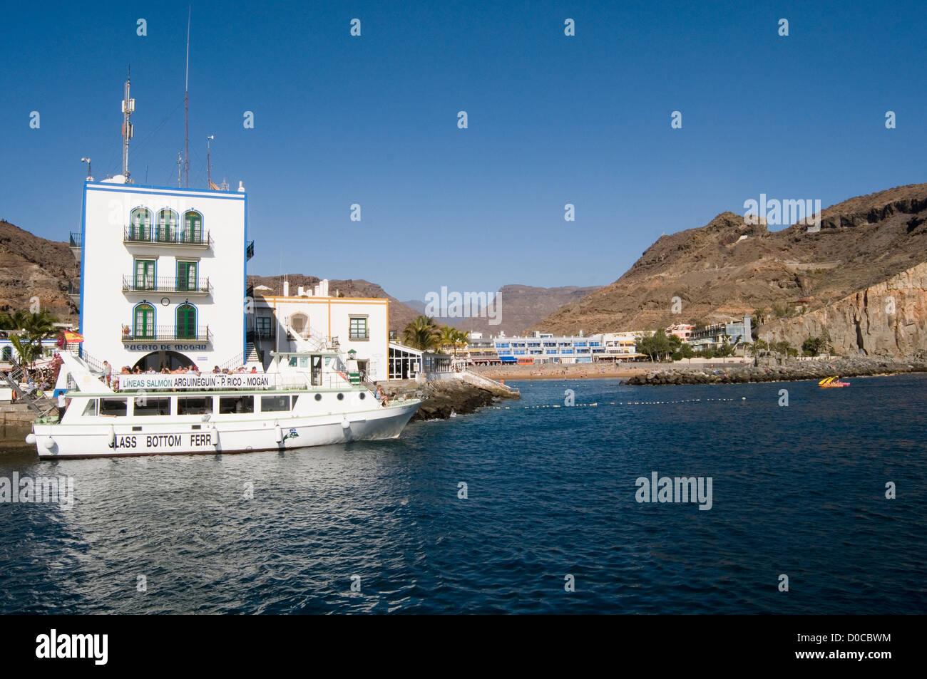 Puerto de Mogan Gran Canaria Hafen Hafen Boot Boote Kanarische Inseln Stockbild