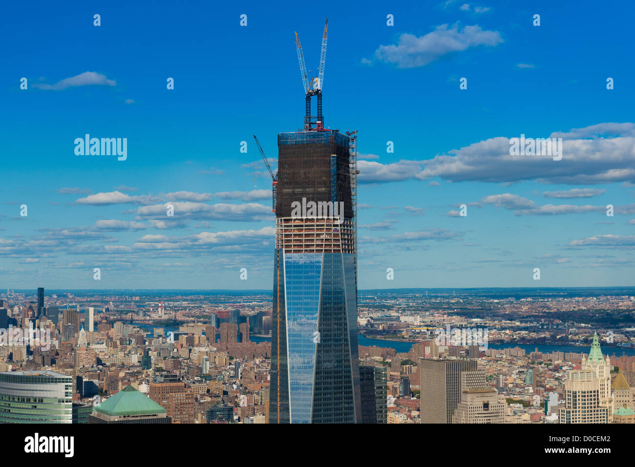 Nahaufnahme Der Freedom Tower Bau New York Stockfoto Bild