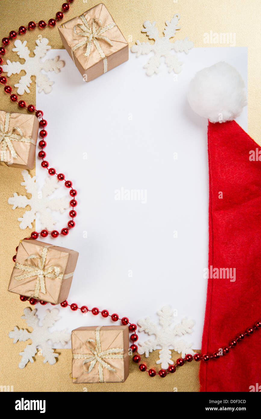 Weihnachten und Neujahr Grußkarte mit Platz für text Stockbild