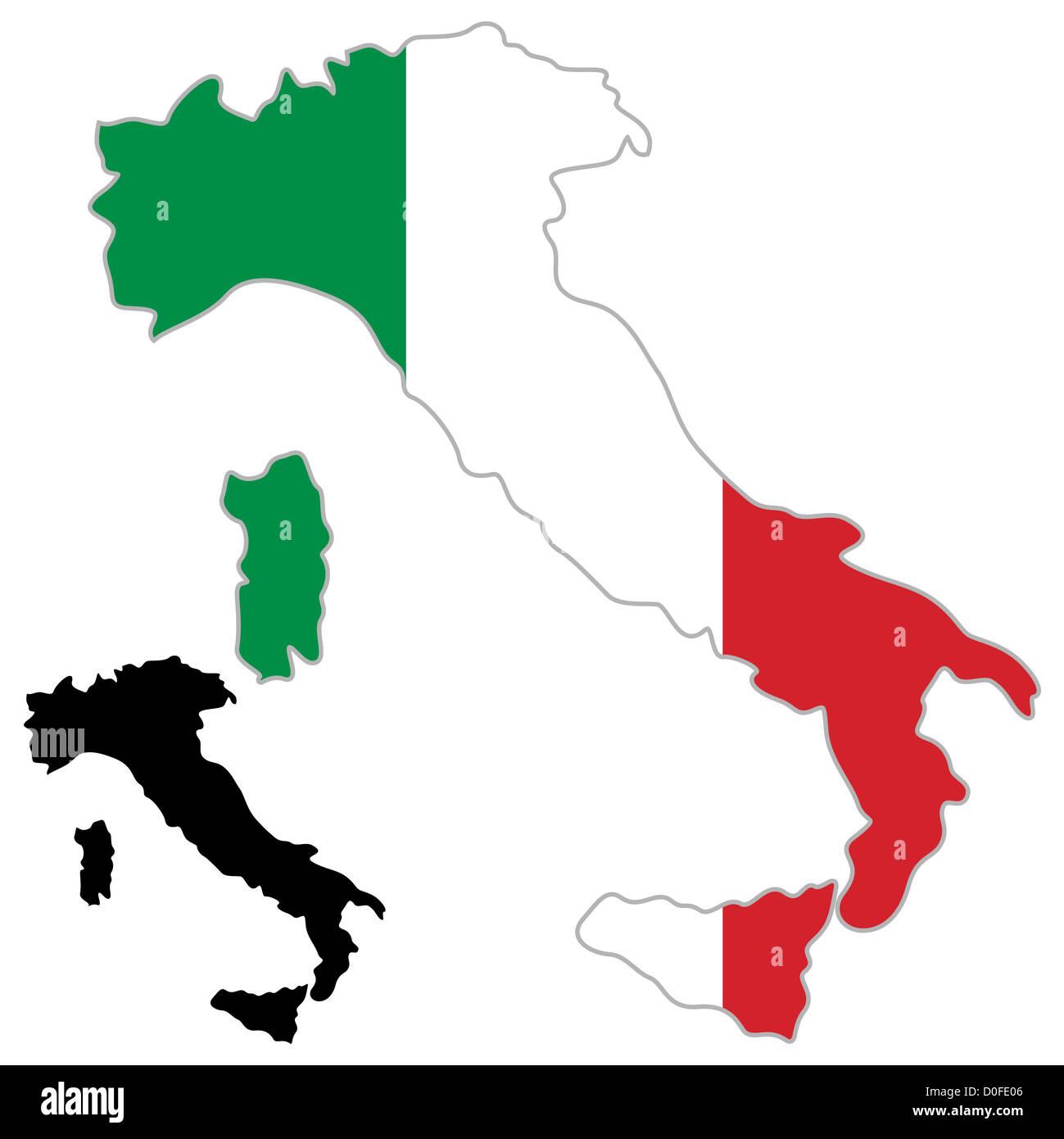 3dkarte Umriss Land Wie Ein Stiefel Und Flagge Von Italien
