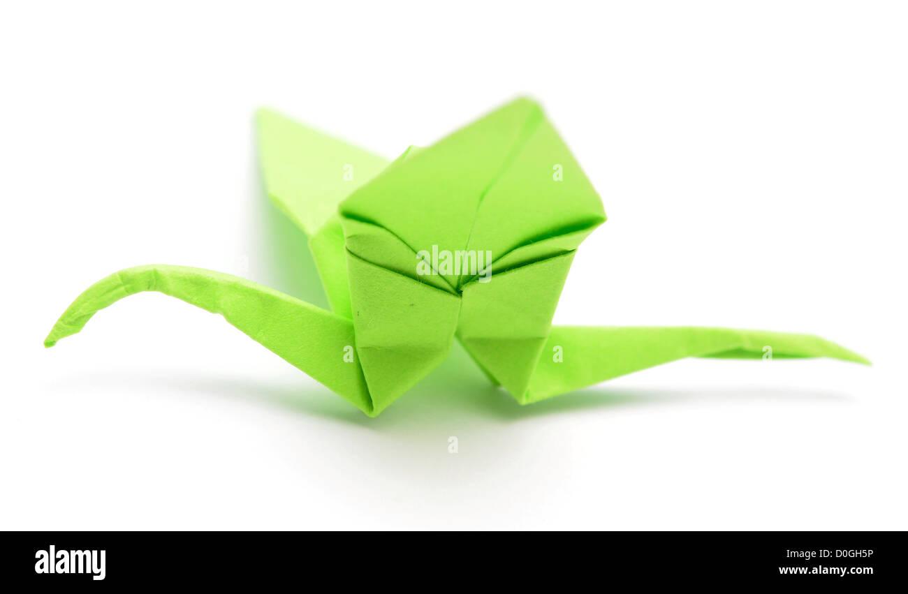 Origami Papier Kran auf weiß Stockbild
