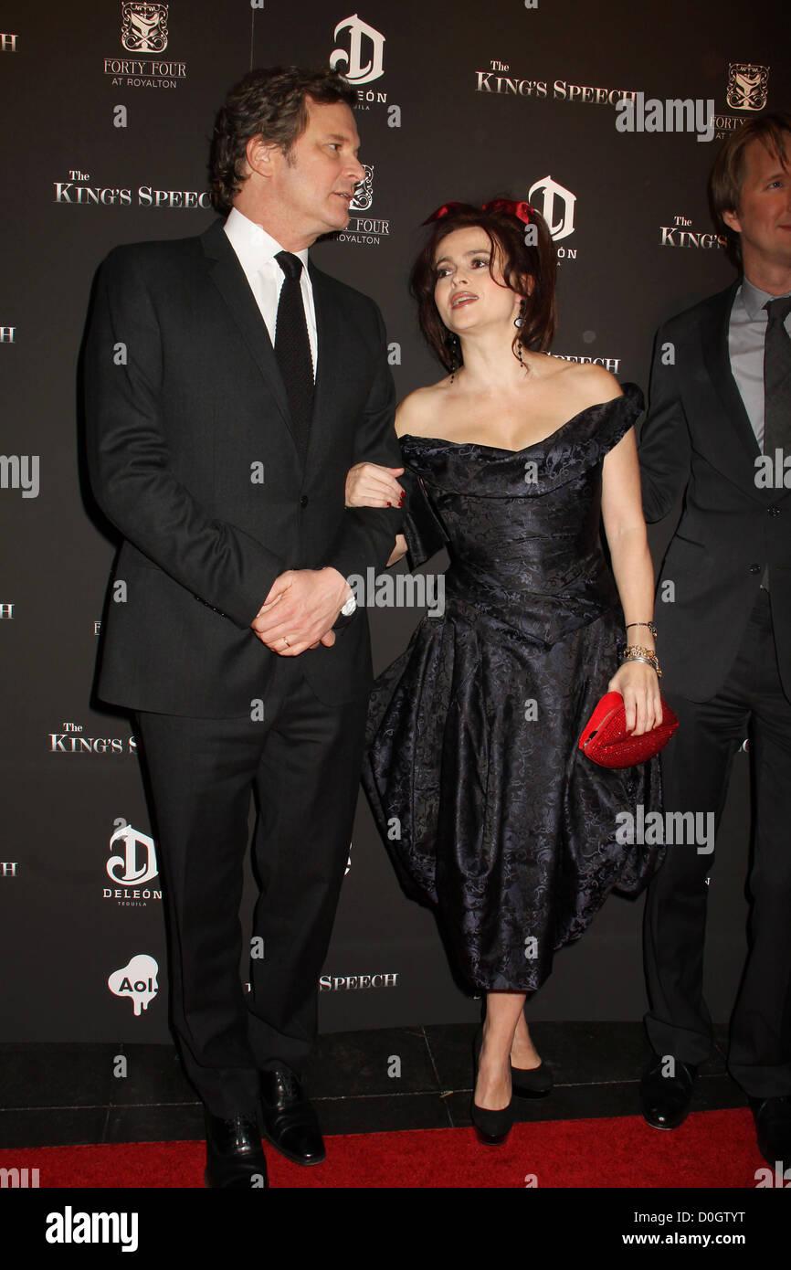 """Colin Firth, Helena Bonham Carter die Premiere von """"Die Rede des Königs"""" an der Ziegfeld Theater Stockbild"""