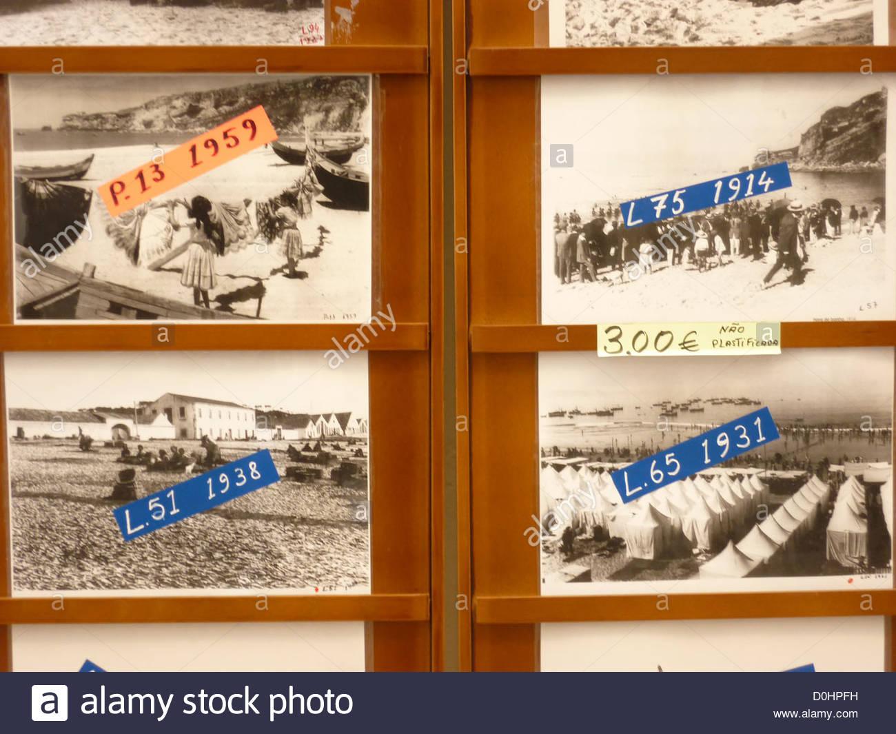 Alte Fotos von Nazaré, Portugal Stockbild