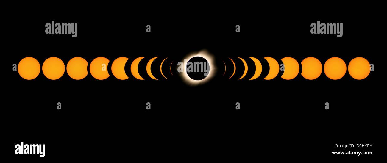 Sequenz von einer totalen Sonnenfinsternis Stockbild
