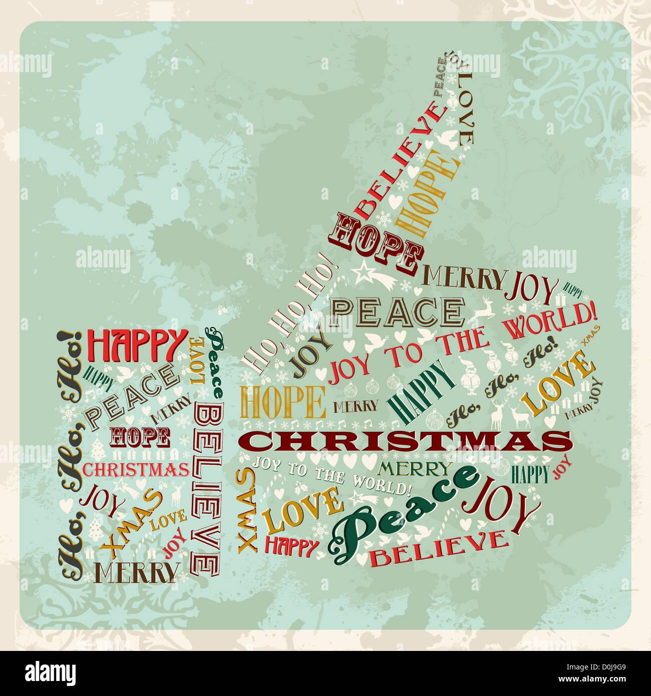 Vintage Frohe Weihnachten Konzept Worte in der hand Daumen Form ...