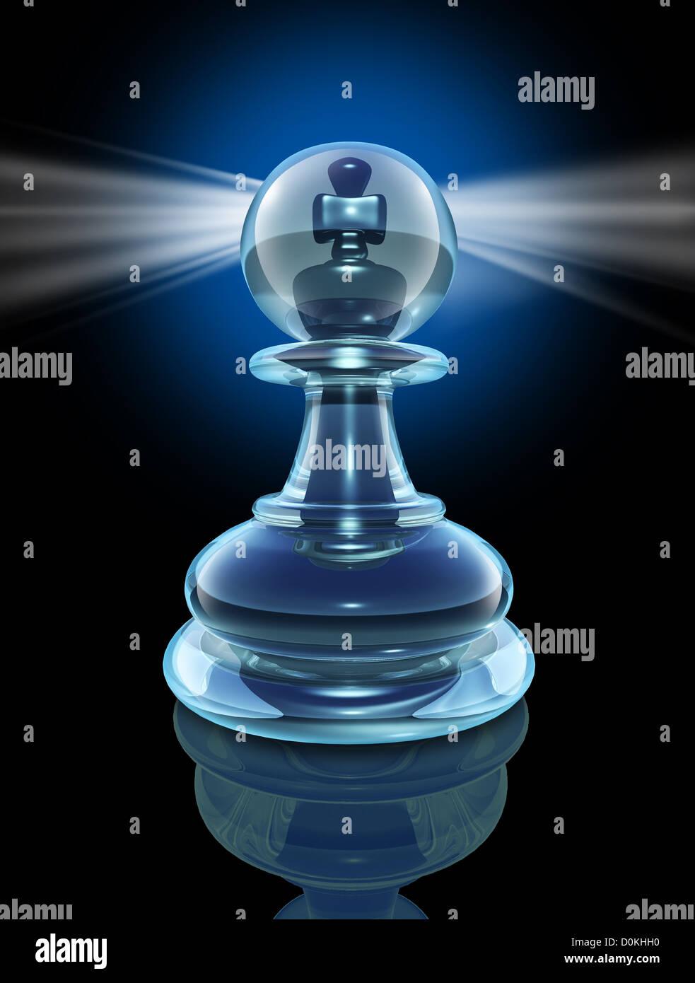Potenzielle innen und die Macht in, ein großer Führer verwandeln, indem man innen als transparentes Glas Stockbild