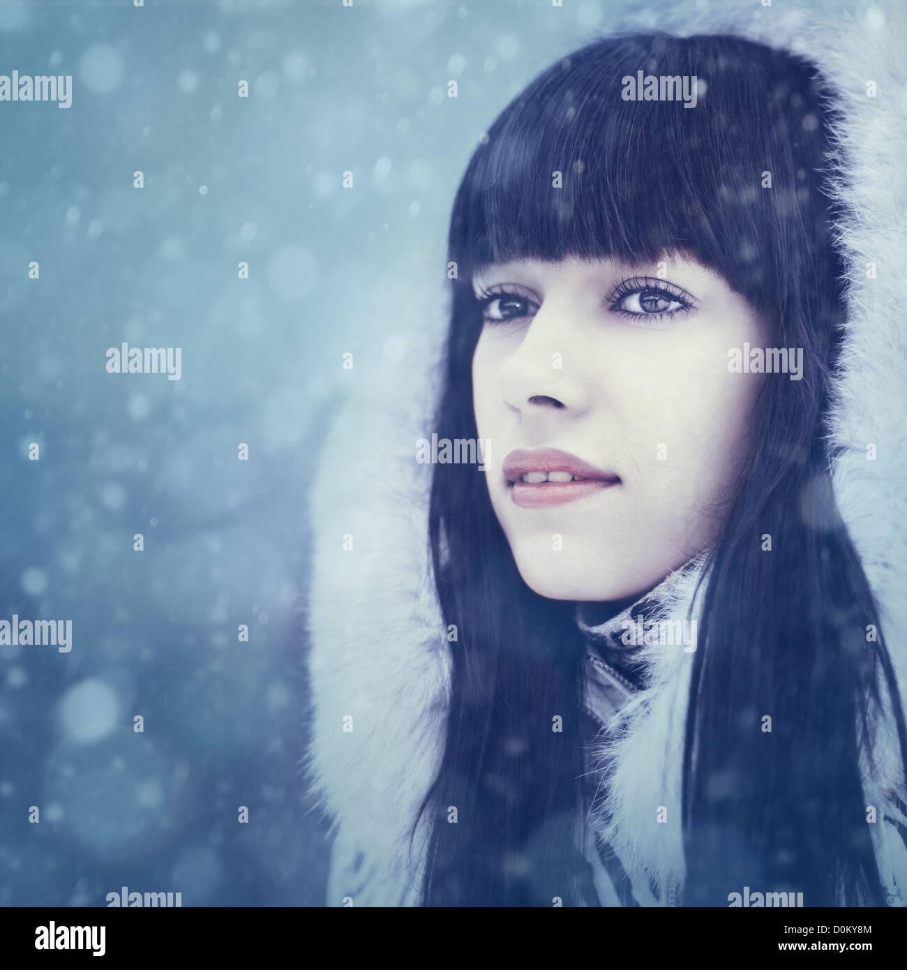 Winter Mädchen. Frauenporträt Schönheit Stockbild