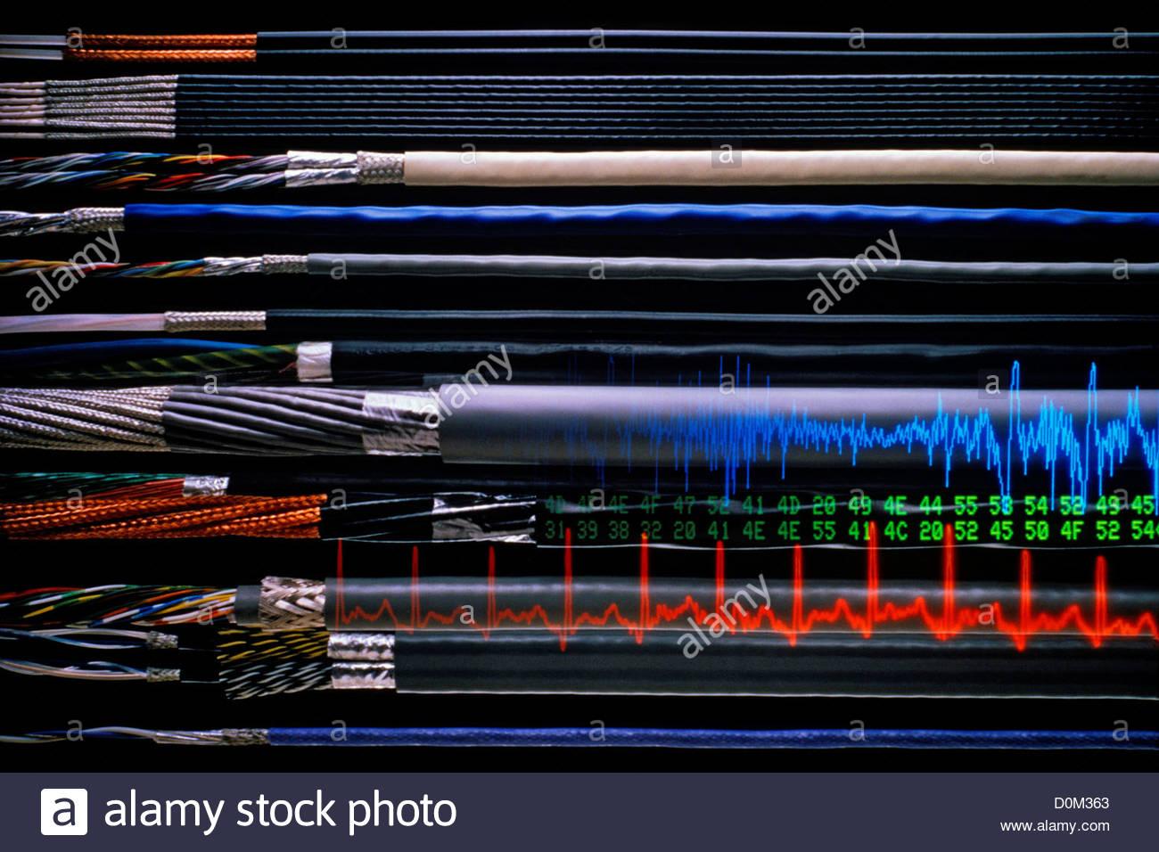 Abgeschirmte elektronische Kabel und Signal-Grafiken Stockbild