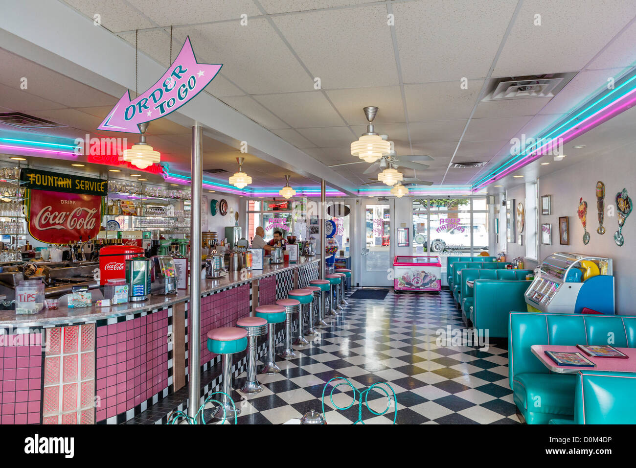 american diner interior stockfotos american diner. Black Bedroom Furniture Sets. Home Design Ideas