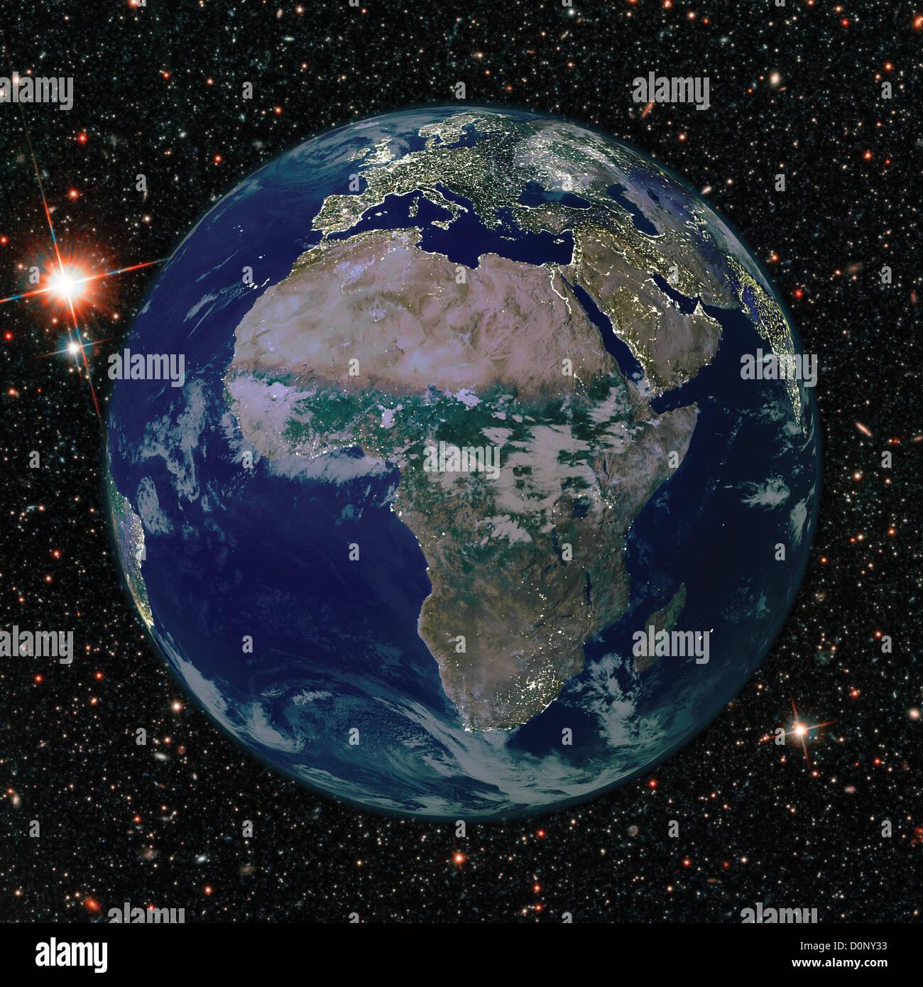 Zusammengesetztes Bild des afrikanischen Kontinents mit Citylights von MODIS gesehen Stockbild