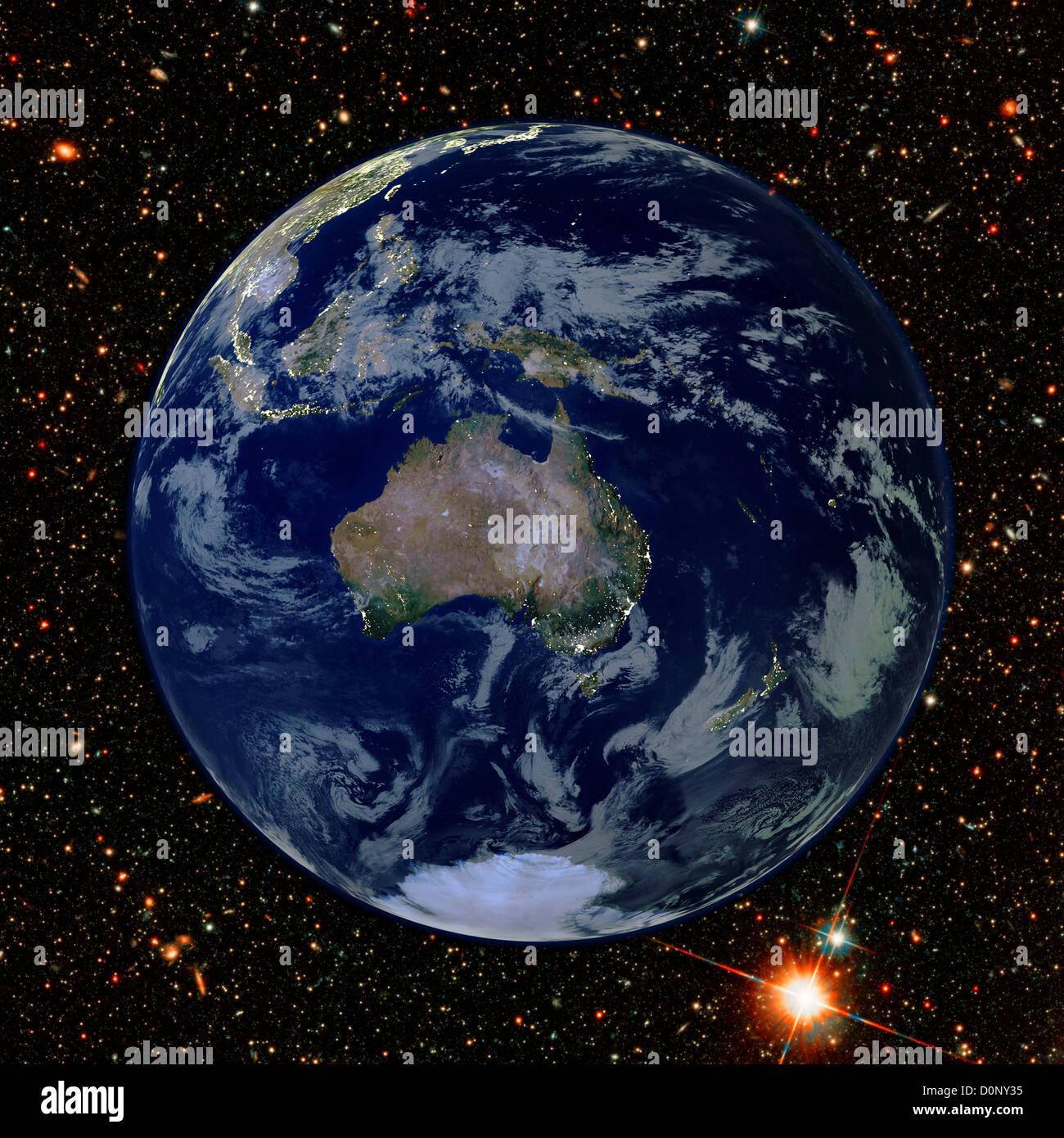 Zusammengesetztes Bild des australischen Kontinents mit Citylights von MODIS gesehen Stockbild