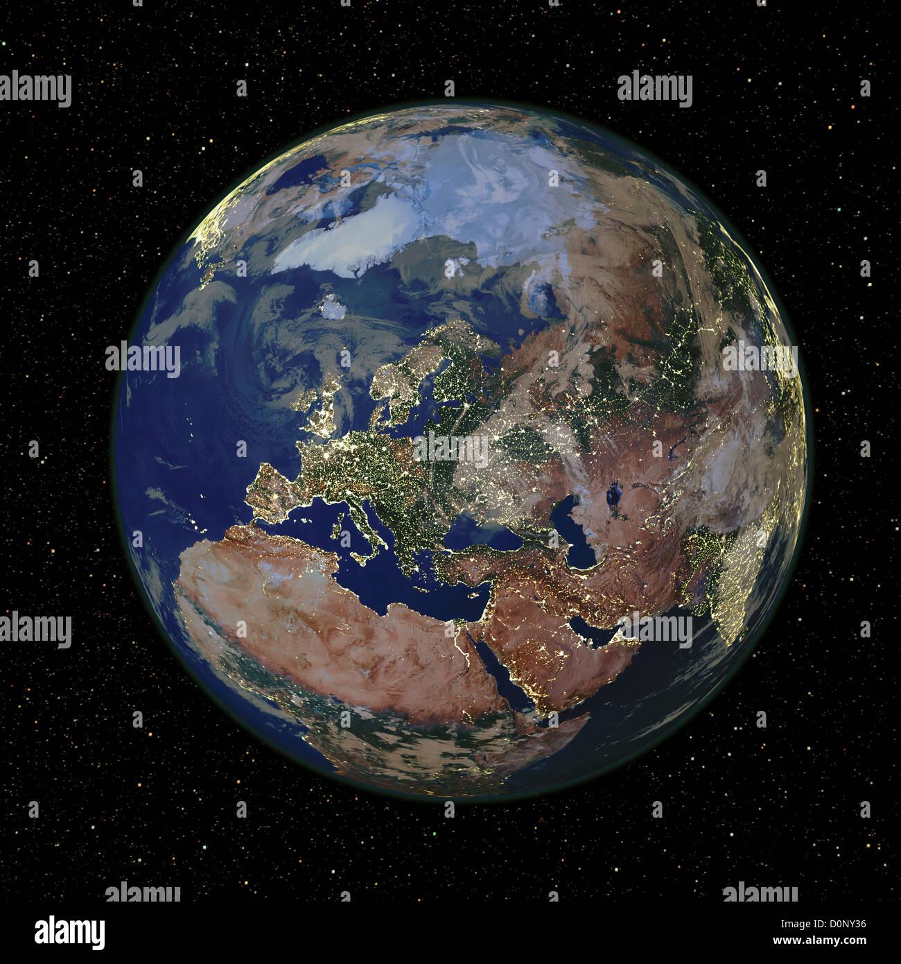 Zusammengesetztes Bild des europäischen Kontinents mit Citylights von MODIS gesehen Stockbild
