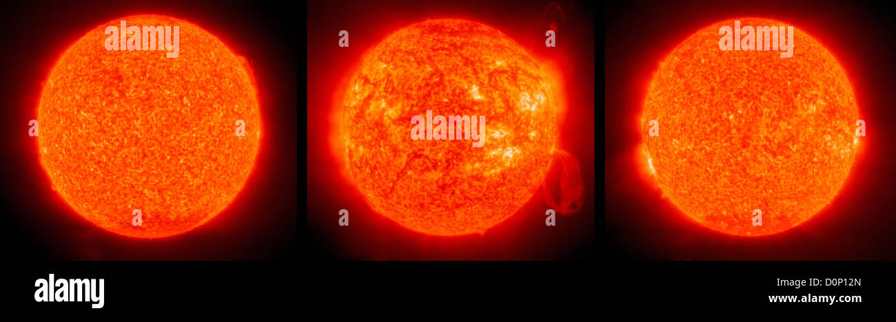 Drei Aufnahmen in zehn Jahren (1996-2001-2006) am gleichen Tag (12. Februar) Solar Heliospheric Observatory (SOHO) Stockbild