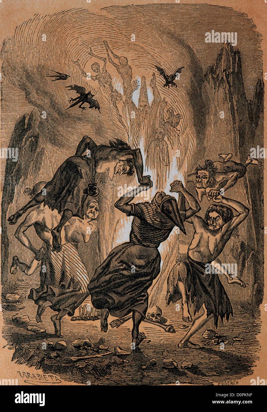Wenceslao Ayguals de Izco (1801-1875). Spanischer Schriftsteller. Arm und reich oder die Hexe von Madrid. 1849. Stockbild