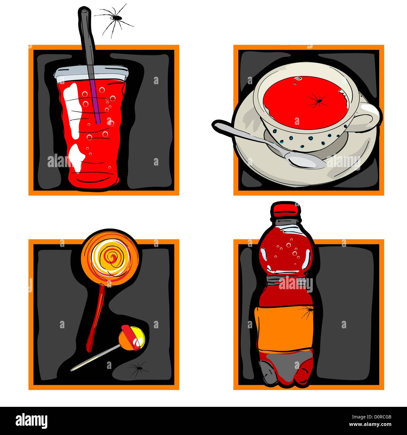 scary Halloween-Getränke und Süßigkeiten icons Stockfoto, Bild ...
