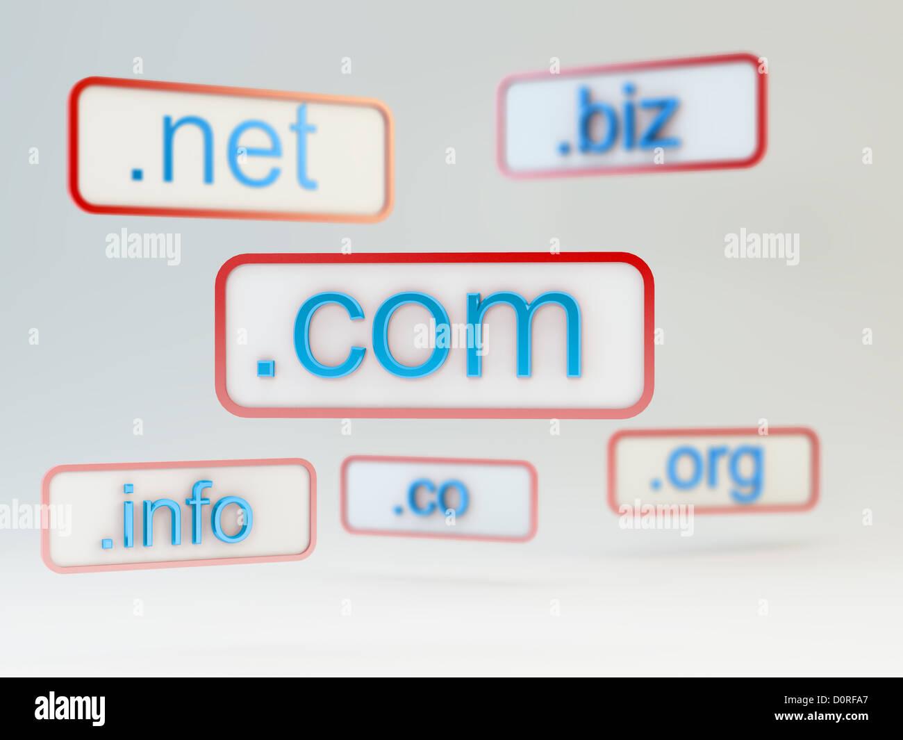Internet-Domain-Namen Stockbild